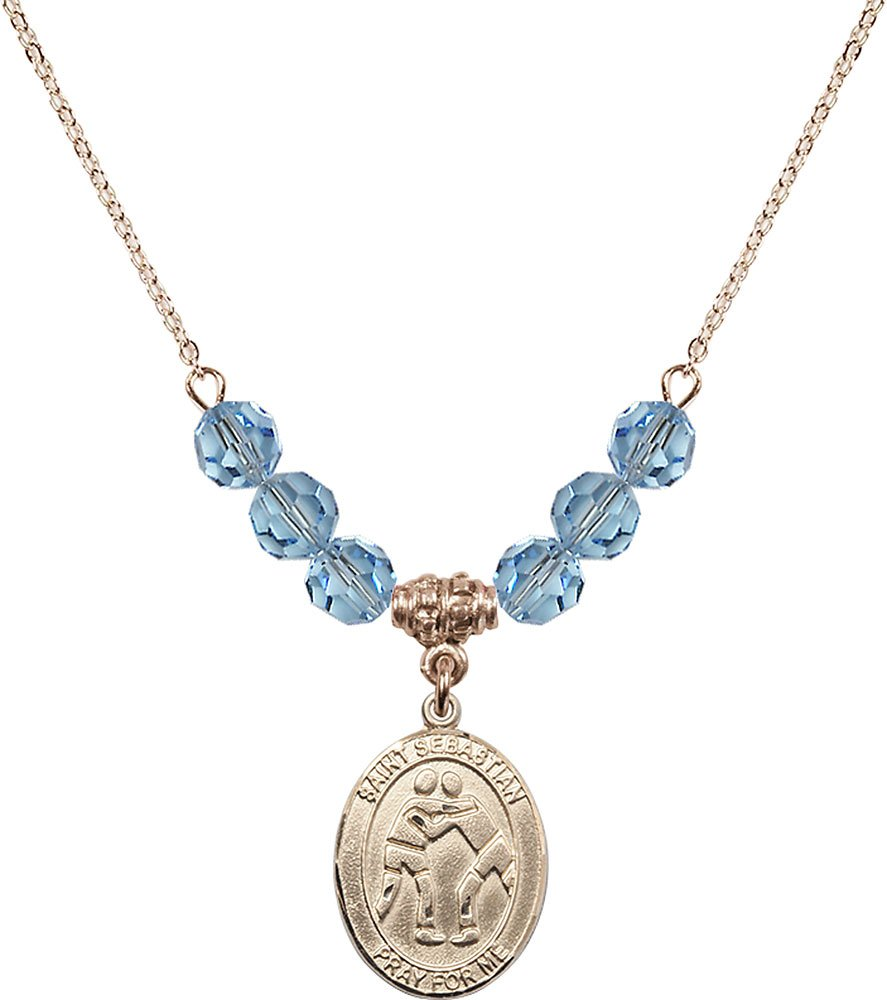 Gold Plated Necklace with 6mm Aqua Birthstone Beads & Saint Sebastian/Wrestling Charm. by F A Dumont
