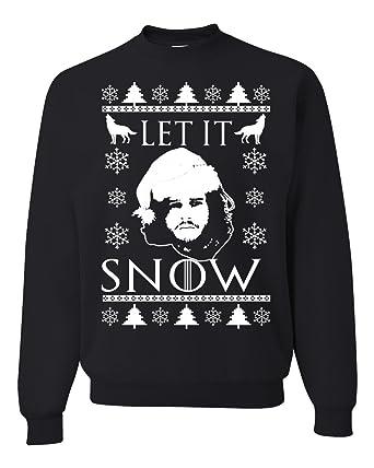 let it snow jon snow stark got ugly christmas sweater unisex crewneck sweatshirt black - Black Ugly Christmas Sweater