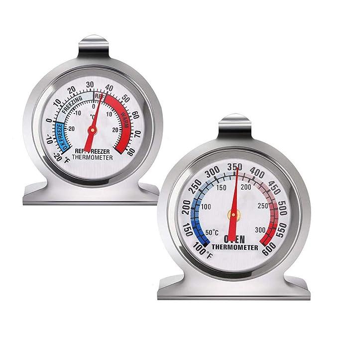 Termómetro para frigorífico y horno de cocina, con esfera de acero ...