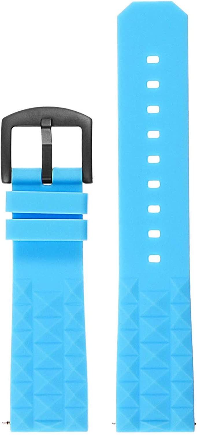 StrapsCo Super Waffle Silicone Rubber Dive Watch Band with Matte Black Buckle - Quick Release Strap - Fits Seiko - 20mm 22mm