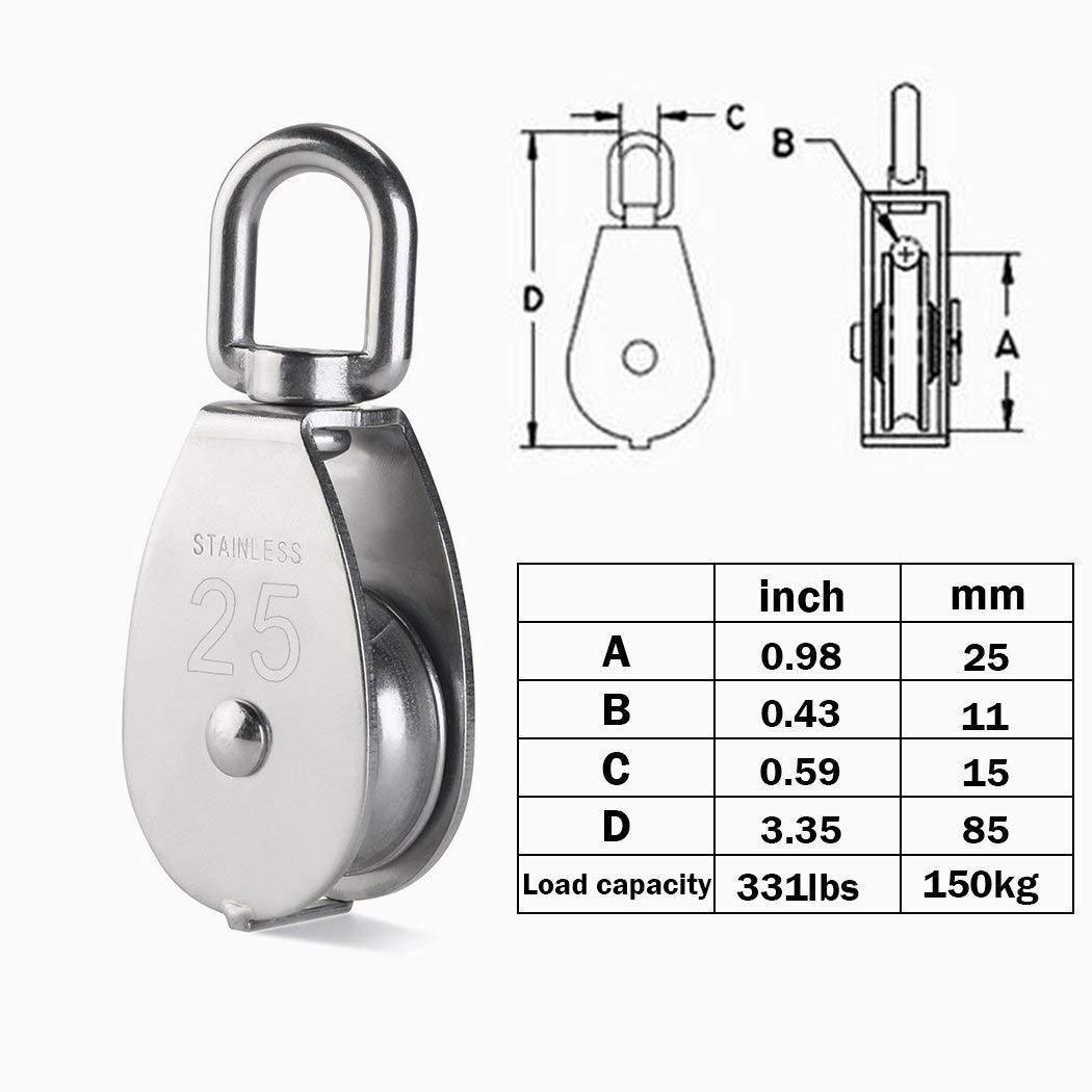 Silber Kidoo 4 Pack 25mm Einzel Flaschenzug Block 304 Edelstahl Flaschenzug Roller M25 Kran Schwenkhaken Laden 150kg