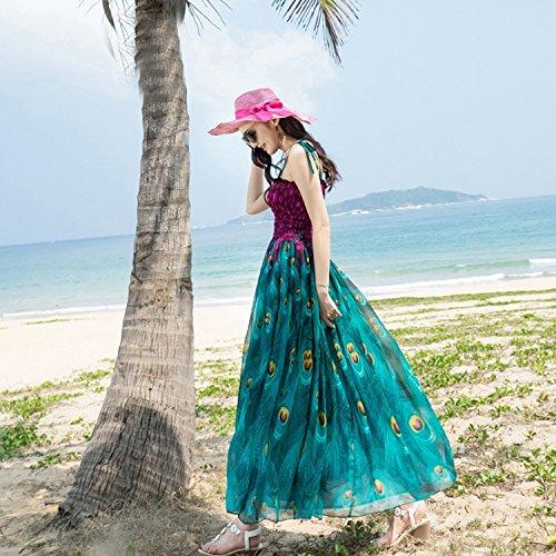 Imprimir Verano Chiffon Playa Zhudj Blue Sujetador Fairy Falda Bohemia De pZq0wPd0
