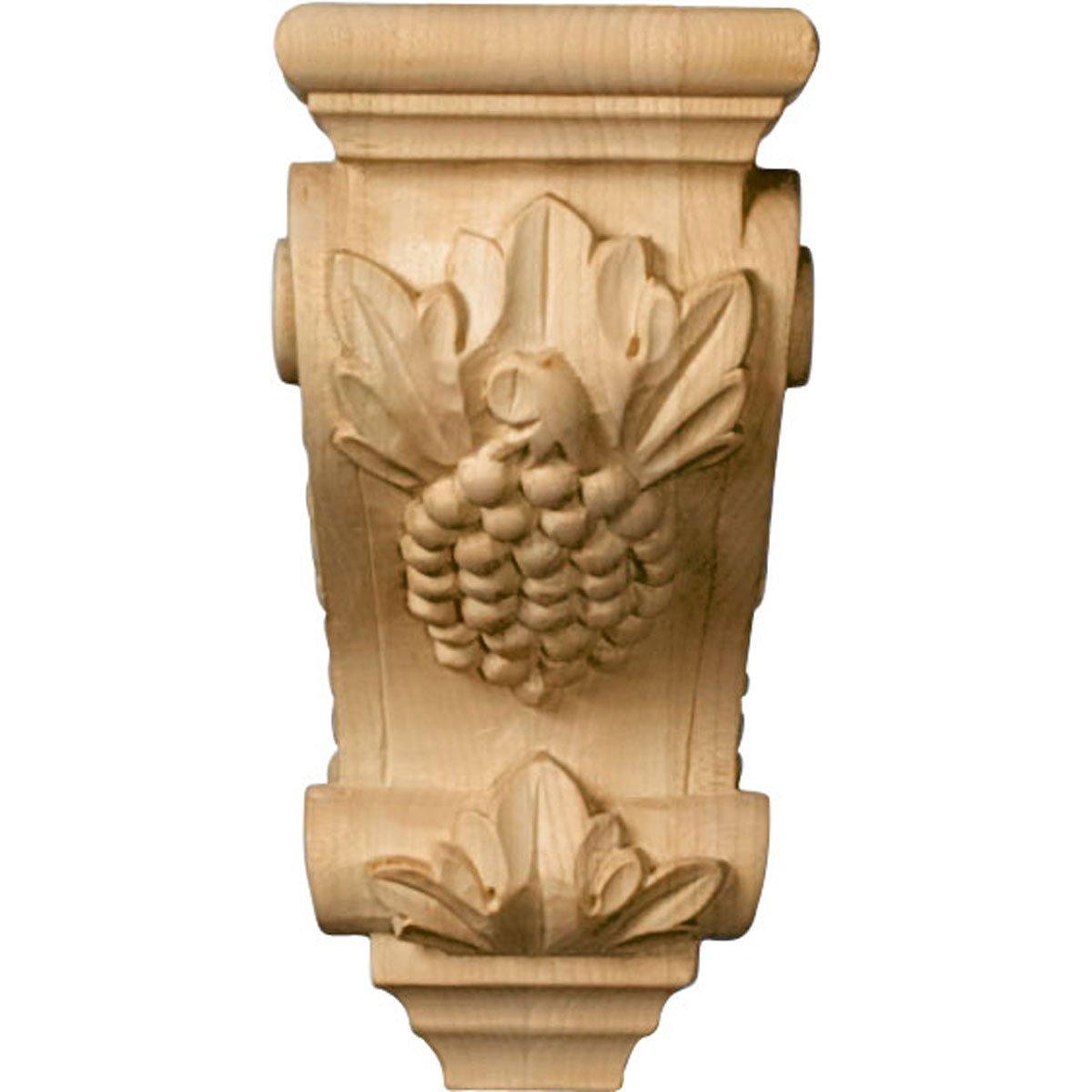 Ekena Millwork CORW03X04X07GRMA 3 1//2-Inch W x 4-Inch D x 7-Inch H Small Grape Corbel Hard Maple