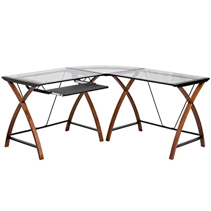 Amazon Com L Shaped Glass Desk Fletcher Small Computer Desks Kitchen Dining