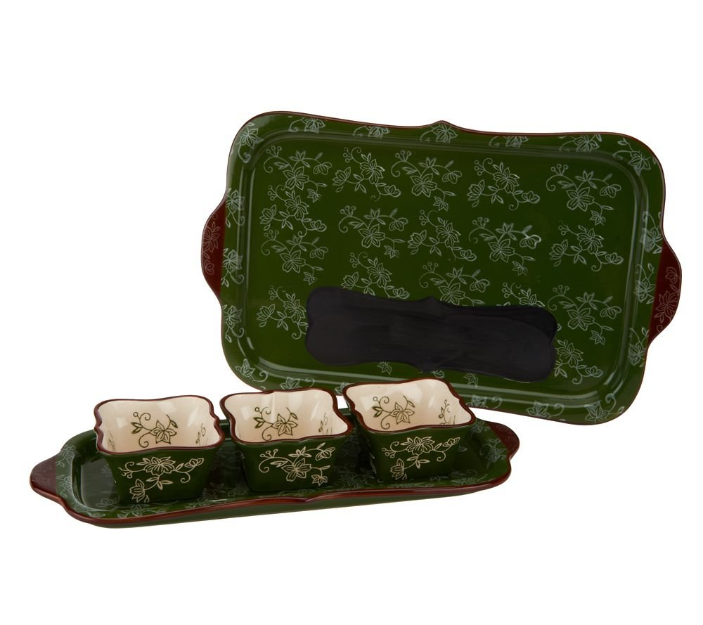 Temp-tations 5-piece Chalkboard Entertaining Set w/Chalk, Ramekins, Platter (Floral Lace Green)