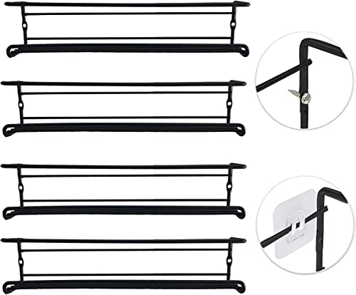 Spice Rack Wall Mount 4 Pack, Hanging Rack Organizer Seasoning Storage Organizer for Cabinet Pantry Door, Cupboard, Black