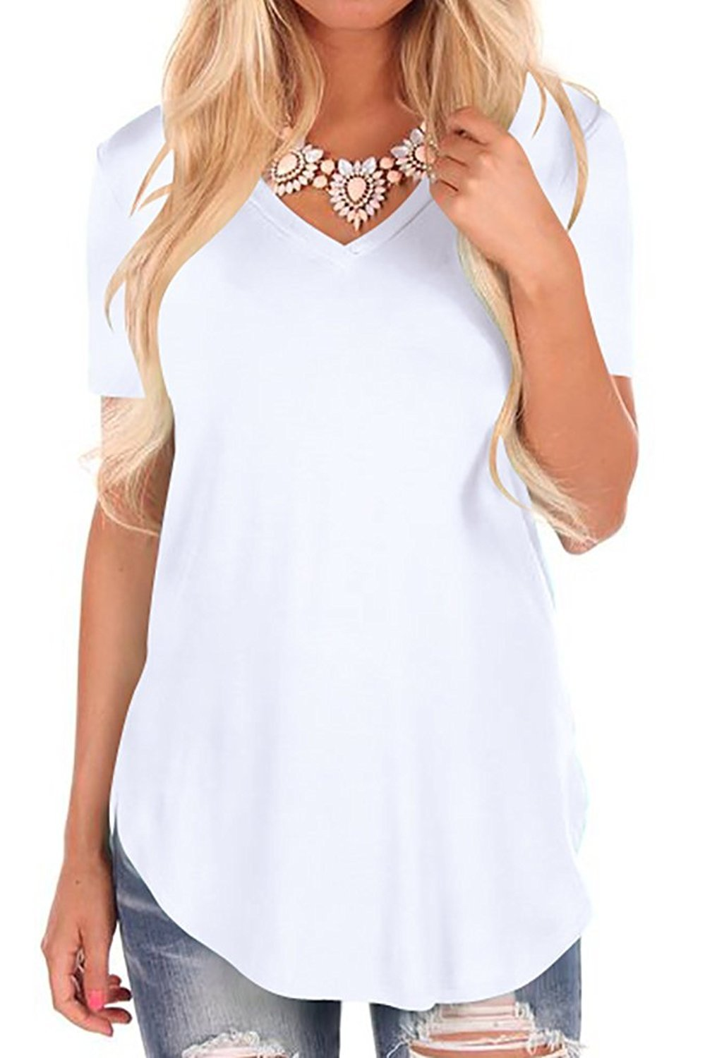 Fantastic Zone Women Solid Casual Loose V Neck Lightweight Top Tee with Short Sleeve White L