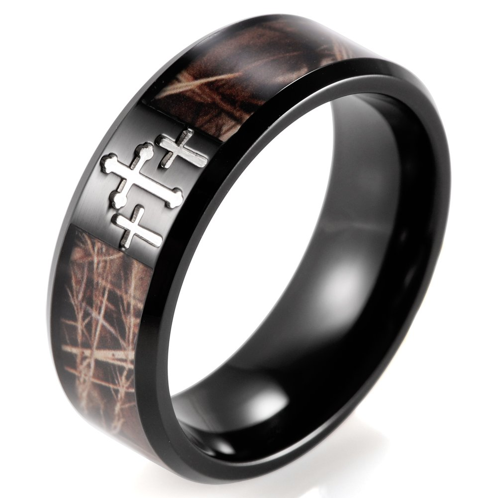 SHARDON Men's 8mm Plating Black Titanium Wedding Ring with Contrasting Engraved Crosses and Brown Camouflage Inlaid Size 13