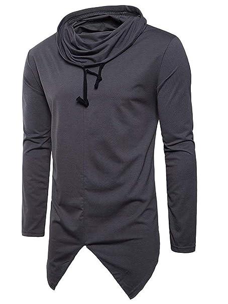 Jersey para Hombre Hip Hop Cuello Alto Slim Fit Streetwear Basic Corbatas  Sudadera Manga Larga Irregular Jumper Tops Camisetas  Amazon.es  Ropa y  accesorios af653bd4c4f