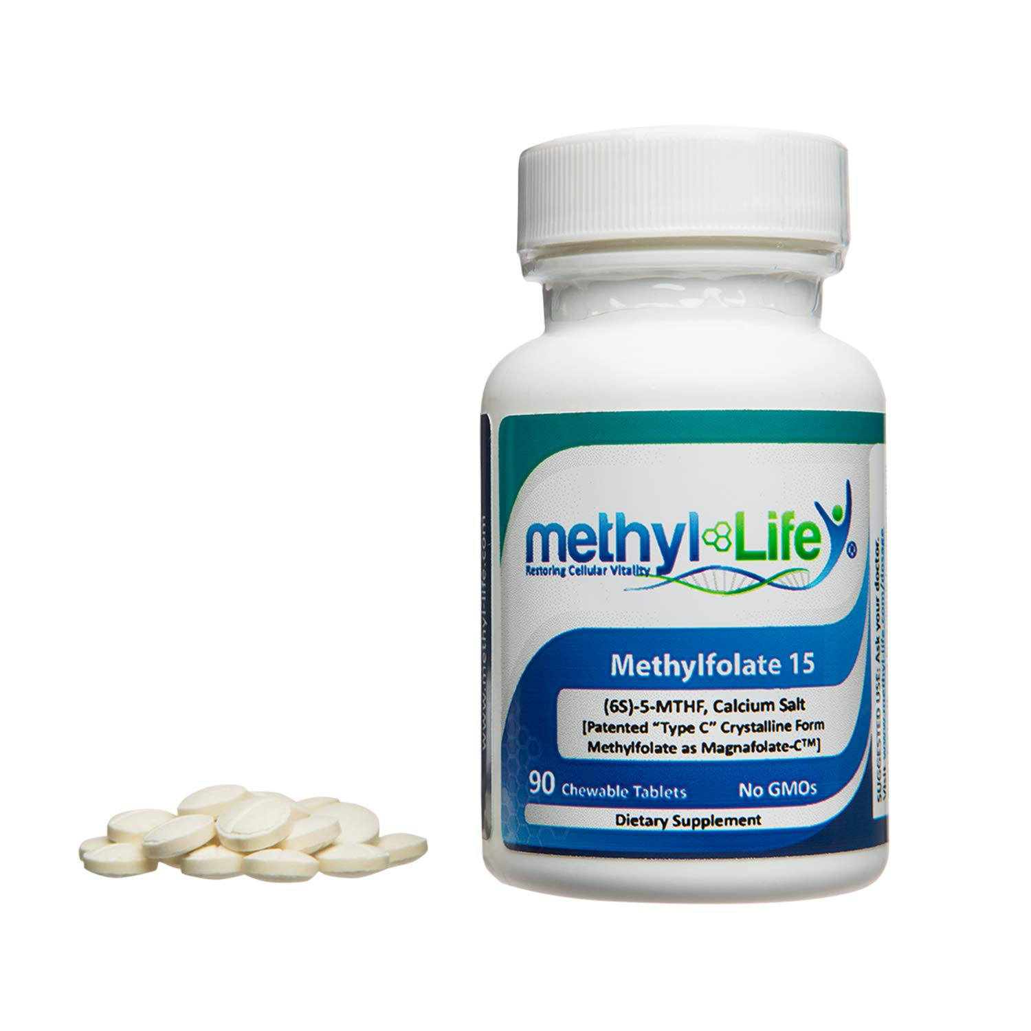 Methylfolate 15 by Methyl-Life|L-5-MTHF, (or (6S)-5-Methylfolate) calcium salt (15 mg per tablet) - 90 Chewable Tablets