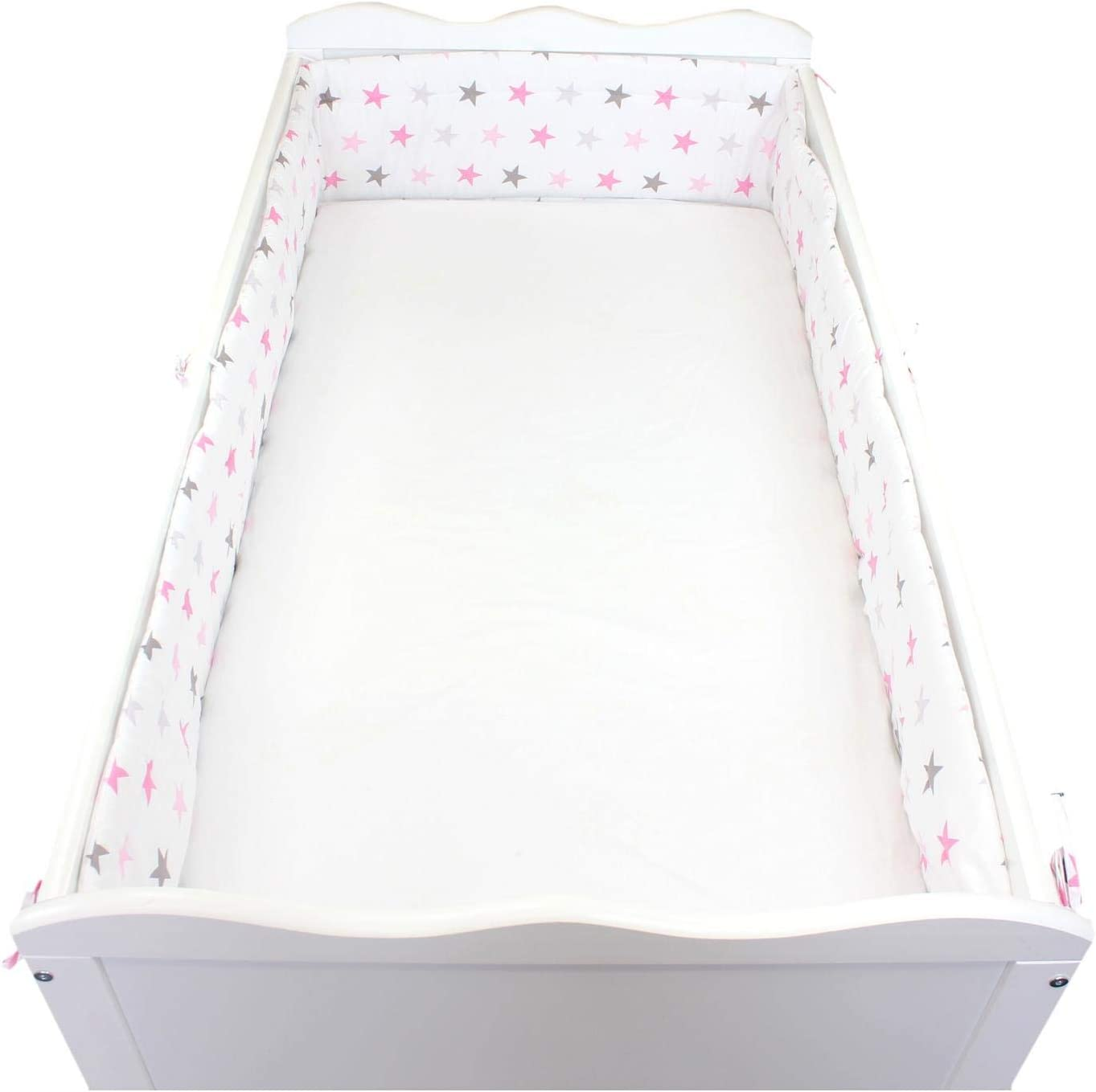 TupTam Baby Cot Bumper All Around Padded Bed Protection Flowers Pink Cot 140x70 cm 420x30 cm