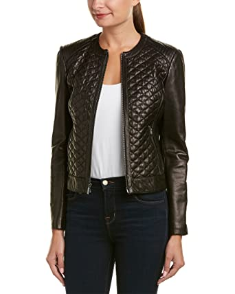 Cole Haan Womens Collarless Moto Diamond Quilted Leather Jacket