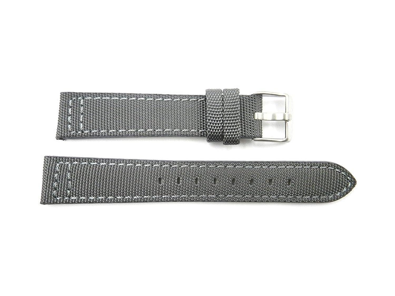 18 mm Gray GenuineレザーG。I。ジョーキャンバススタイル時計ストラップバンド  B071KMSD4F