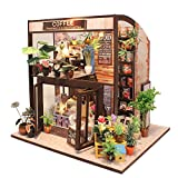 CuteBee Dollhouse Miniature with Furniture, DIY Wooden DollHouse Kit, 1:24 Scale Creative Room for Idea (coffee house)