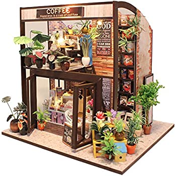 CuteBee Dollhouse Miniature With Furniture, DIY Wooden Dollhouse Kit, 1:24  Scale Creative Room Idea (Coffee House)