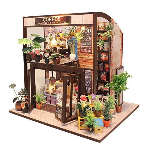 CuteBee Dollhouse Miniature with Furniture, DIY Wooden Dollhouse Kit, 1:24 Scale Creative Room Idea (Coffee House) ()