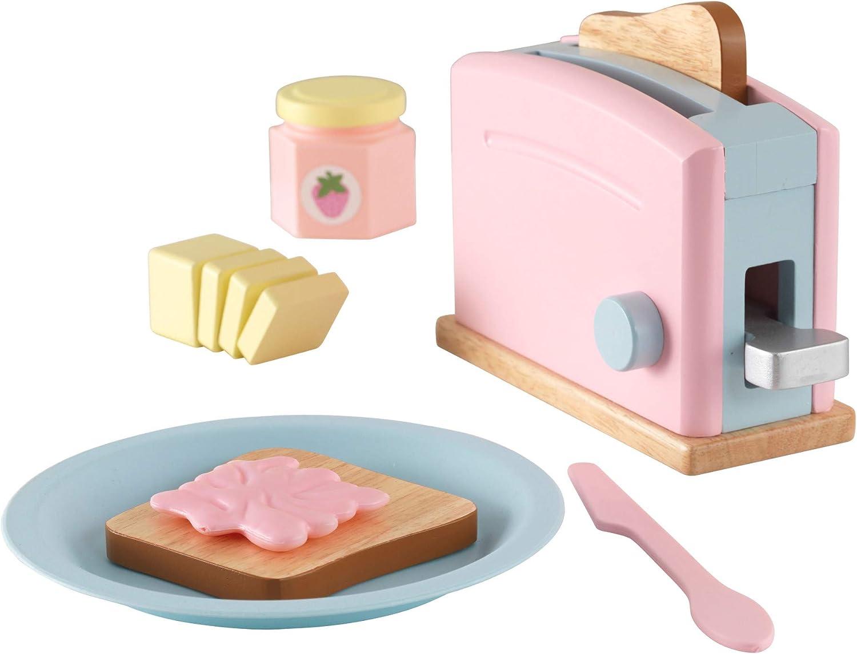 KidKraft- Set de cocina de juguete con tostadora y accesorios de cocina, de madera, Multicolor (Pastel) (63374) , color/modelo surtido