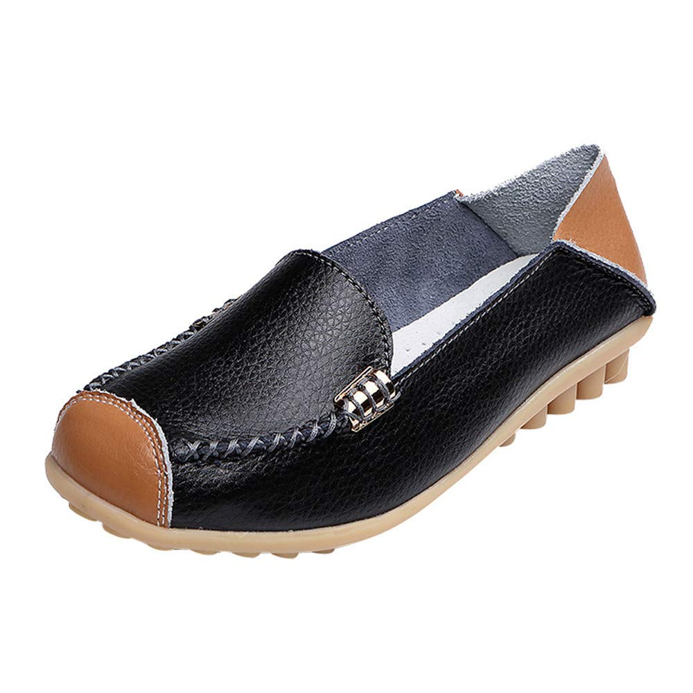 Nevera Women's Casual Classic Round Toe Ballet Comfortable Slip On Flats Shoes Black