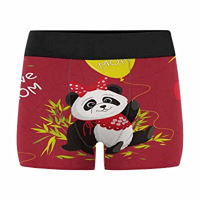InterestPrint Men's All-Over Print Boxer Briefs Sitting Cute Panda and Bamboo (XS-3XL)