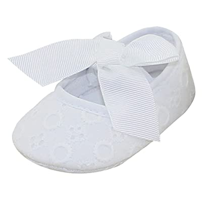 Aivtalk Baby Girls Princess Bowknot Soft Crib Shoes Christening Baptism Shoes