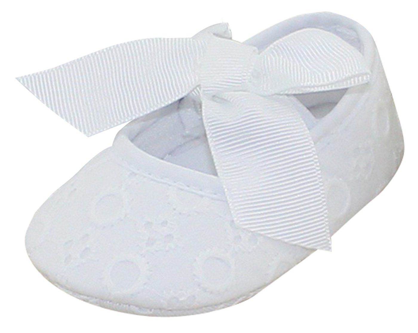 Baby Girls Princess Dress Shoes with Bowknot Baptism Christening Dance Soft Sole Cloth Crib Shoes Sneaker White 12-18 Months