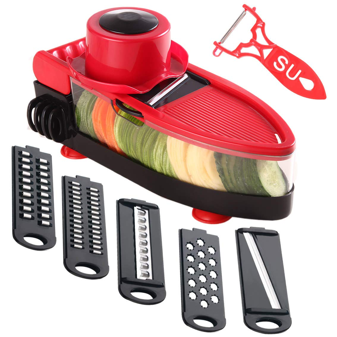 Tenta Kitchen 4 Piece Cheese Grater Set with Container - Zester Parmesan Cheese Shredder Vegetable Slicer Cheese Graters - Fine and Coarse Metal Hand Cheese Grater Adjustable Hard Cheese Slicer (4 in 1,Green) TENTA7 COMINHKPR96441