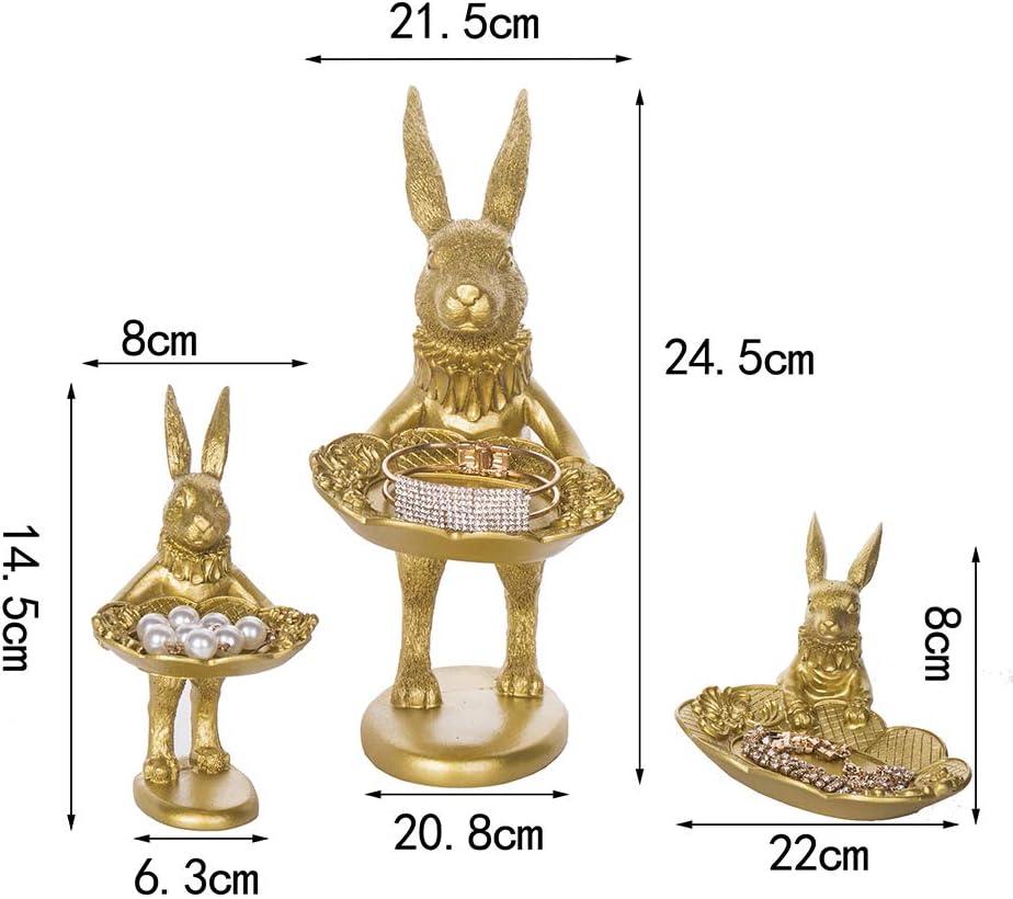 Lemonadeus Golden Rabbit Jewelry Dish Gold Rings tray Home Decor Accent Animals Jewelry Display Organizer Holder Small Furnishings Rabbit Sculptures Golden Standing Rabbit 10