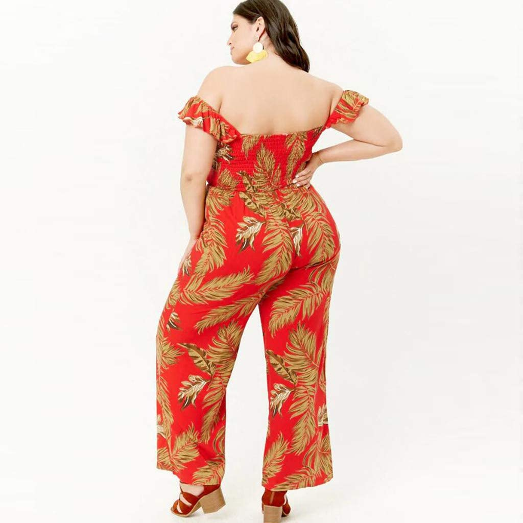 Dowager Womens Plus Size Floral Print Off Shoulder Jumpsuit Strapless Ruffle Long Rompers