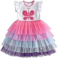 VIKITA Vestido Patrón de Mariposa Unicornio Algodón Tulle Tutu Manga Larga Niñas 2-8 Años