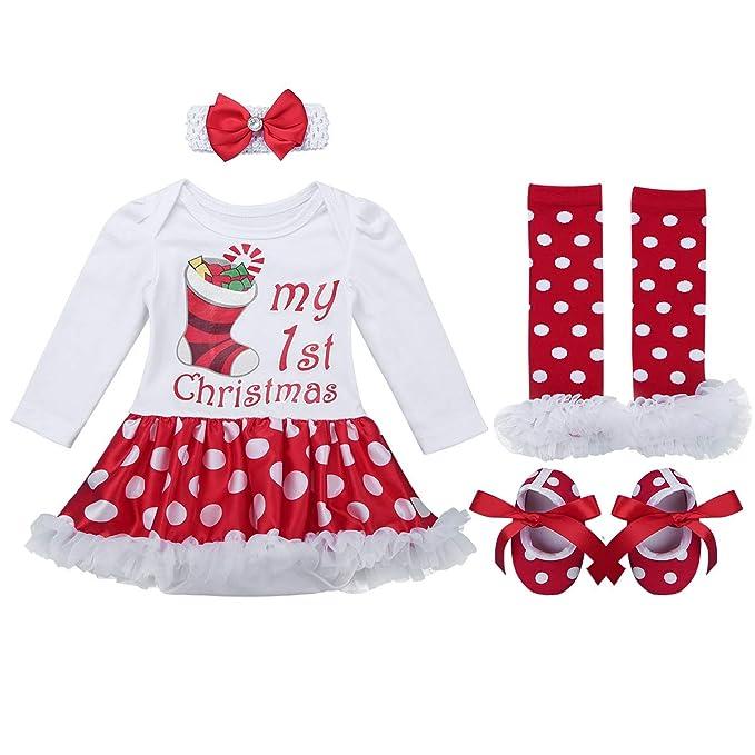 iixpin 4PCS Niñas Bebés Mi Primera Navidad Traje Infantil de Santa Partido Mameluco Vestido Princesa Tutú Conjunto Manga Larga Ropa Invierno Pelele con ...
