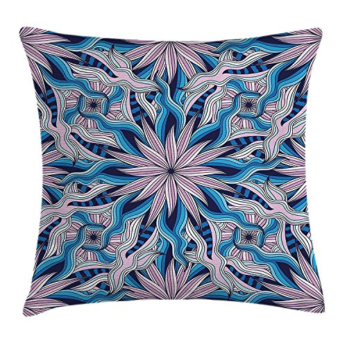 best bags Mandala Decor Throw Pillow Cushion Cover, Esoteric Ethnic Flowers Digital Made Asian Occult Motif with Wavy Artsy Line, Decorative Square Accent Pillow Case, 18X18 Inches, Purple Blue (Wavy Motif)