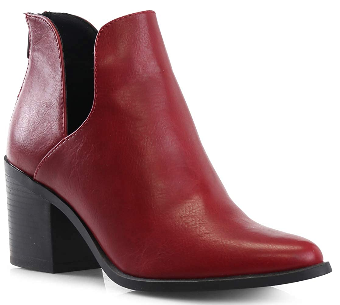 Red LUSTHAVE Women's Duney Cut Out Chunky Stacked High Heel Pointy Toe Ankle Bootie Boots