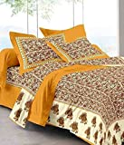 Jaipuri Print Rajasthani Tradition 210 TC Cotton Double Bedsheet with 2 Pillow Covers - Yellow