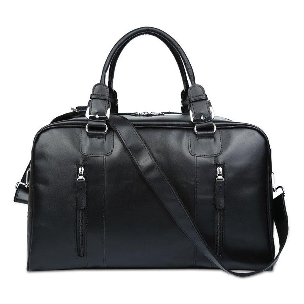 旅行バッグ スタイリッシュなシンプルさビジネスレザートラベルバッグレザーバッグ大容量男性と女性のショルダーハンド荷物バッグトラベルバッグ スポーツバッグ トラベルバッグ (色 : ブラック)  ブラック B07P5QTHM8