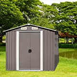 Kinbor 6' x 4' Outdoor Steel Garden Storage Utility Tool Shed Backyard Lawn Warm Grey w/Door