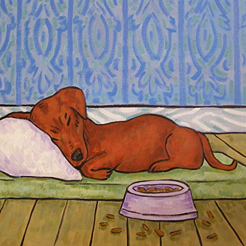 Bowl Tile - Dachshund Dog sleeping with Dog bowl art tile coaster gift gifts