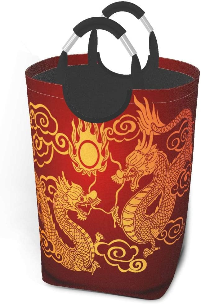 EJudge Laundry Basket Chinese Traditional Gold Dragon Red Large Collapsible Dirty Laundry Hamper Bag Tall Fabric Storage Baskets Rectangle Fold Washing Bin Hand Clothes Organizer for Kids,Dorm 50L