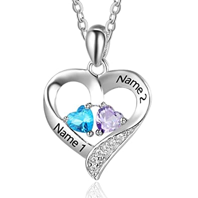 Lam Hub Fong Personalized 2 Simulated Birthstone Name Necklace for Couples Women  Custom Relationship Promise Heart 0d6ea3b305
