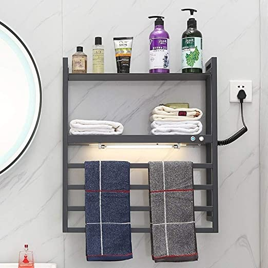 MJDwarmer toalleros electricos bajo Consumo Toallero con calefacción, radiador de baño Moderno y Elegante con Escalera Recta para baño, radiadores de Toalla calefactores-Negro (650 * 580 mm): Amazon.es: Hogar