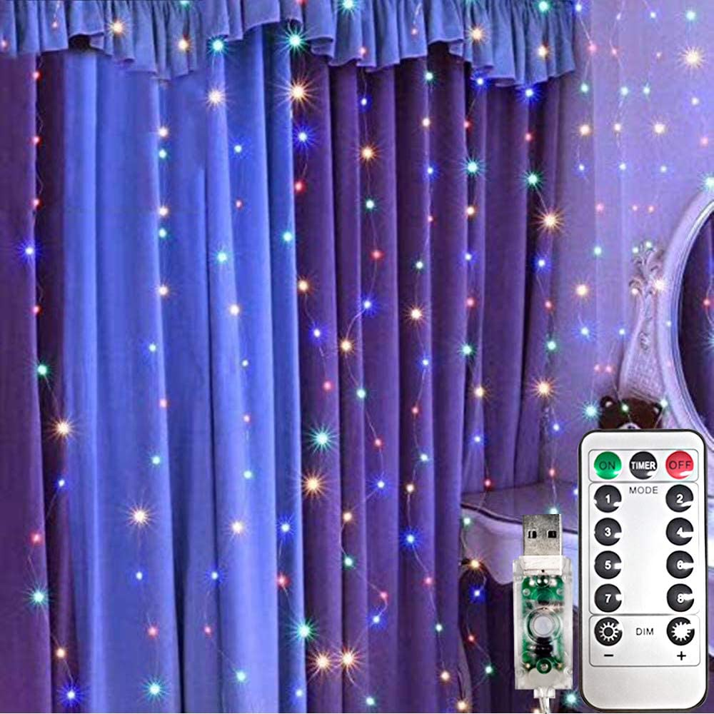 LiyuanQ Curtain String Lights 300 LEDs Window Curtain Fairy Lights Copper Wire Twinkle String Lights USB Remote Control 8 Modes Hanging Lights for Bedroom Indoor Home Wedding Decor (300 LED, Multi)