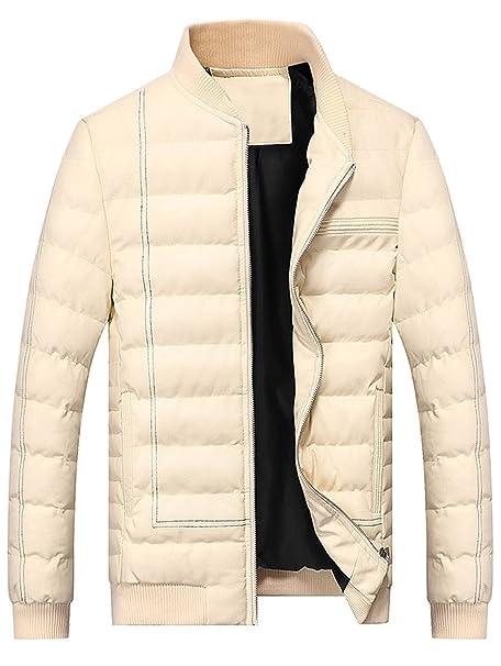 EbuyChX Sutura PU chaqueta de cuero con cremallera acolchada ...