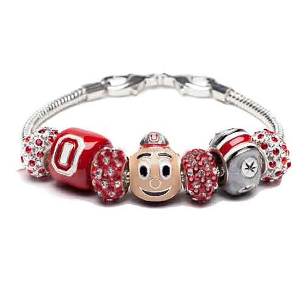 Ohio State Bracelet | Ohio State Brutus Buckeye Charm Bracelet | Ohio State Gifts | Officially Licensed Ohio State Jewelry | OSU Charms | Stainless Steel by Stone Armory