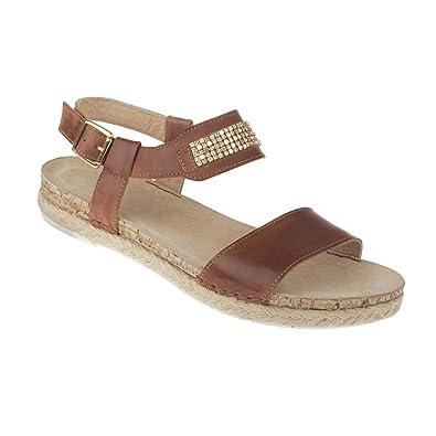 tessamino Damen Sandale aus echtem Leder  mit Metallverzierung  Weite H