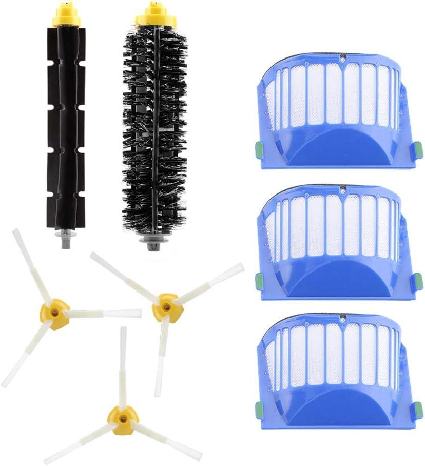 Ymiko Vacuum Cleaner Replacement HEPA Filters Brush Kit for Irobot 500 600 700 800 900 Series (Side Brush+Beater Brush+Filters)