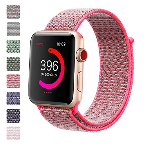 iMoway Sport Loop Band Compatible for Apple Watch 38mm 42mm, Nylon Replacement Wristbands Compatible for iWatch Series 1/2/3, Nike+,Sport,Edition (Bright Pink, 38mm)