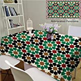 Amavam Unique Custom Cotton and Blend Tablecloths Morocco Seamless Border Traditional Islamic Design Mosque Decoration Element Tablecovers for Rectangle Tables, 48'' Wx 24'' L, 120x60cm