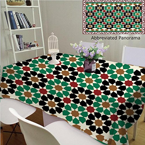Amavam Unique Custom Cotton and Blend Tablecloths Morocco Seamless Border Traditional Islamic Design Mosque Decoration Element Tablecovers for Rectangle Tables, 48'' Wx 24'' L, 120x60cm by Amavam