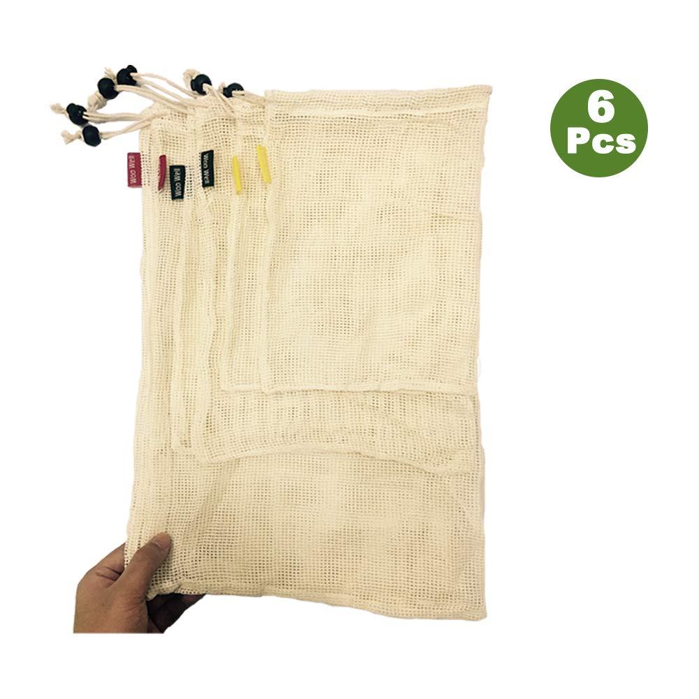 WooWell réutilisable sacs de légumes en coton, sacs de fruits et sacs de légumes, sacs à provisions en maille respirant, beaux sacs en coton naturel, 6 pièces - 2x S, 2x M, 2x L, vie écologique, rendre notre maison plus belle, laissez Vos achats sont plus