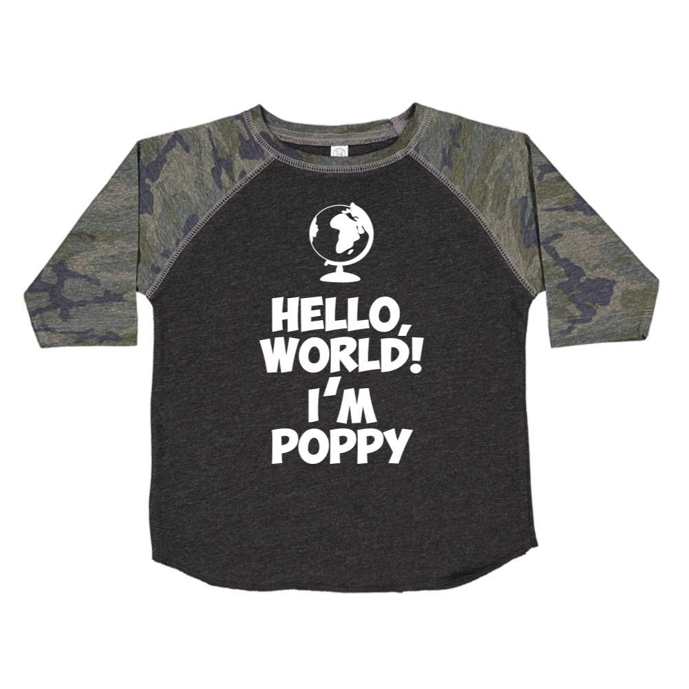 Mashed Clothing Hello Personalized Name Toddler//Kids Raglan T-Shirt Im Poppy World