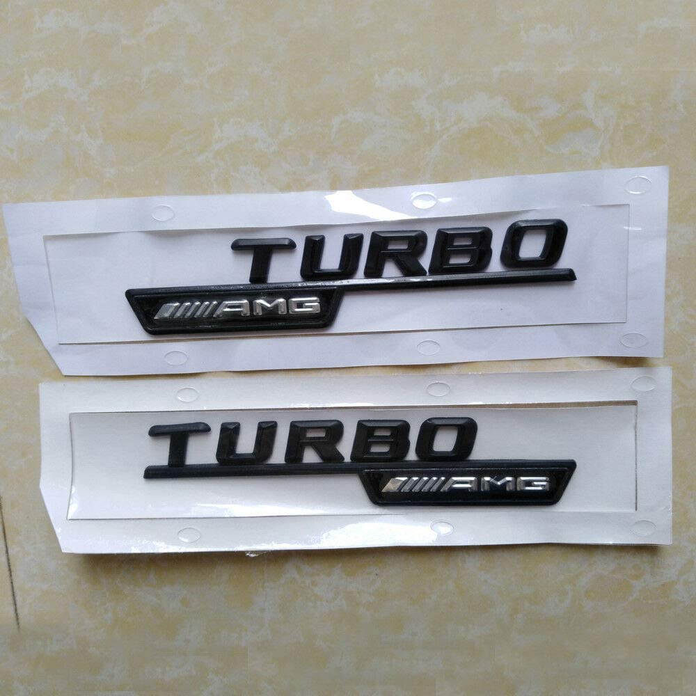 Fidgetgear Schwarz Turbo Amg Buchstaben Kofferraum Emblem Aufkleber Für Mercedes Benz Amg Auto